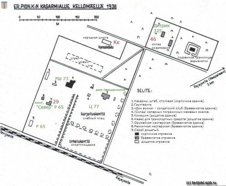 План воинских казарм Келломяки с обозначением объектов по картам 1913 г. и 1930-х гг.