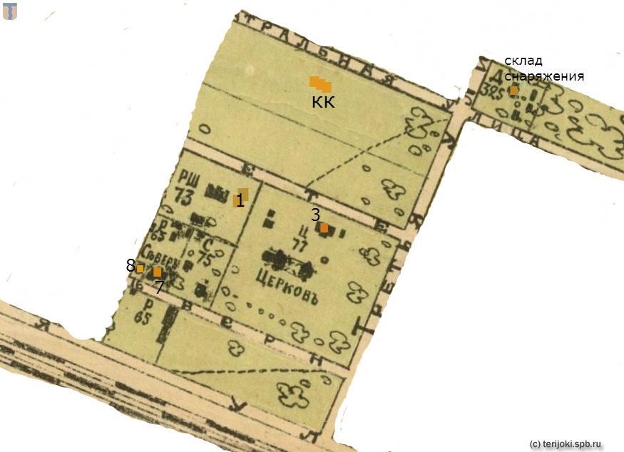 Фрагмент карты Келломяки 1913 г. с обозначением русской и финской народной школ и близлежащих построек