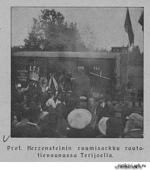 Гроб с телом Герценштейна в железнодорожном вагоне в Териоках. Фотография из журнала Helsingin Kaiku, 18.8.1906, №32-33