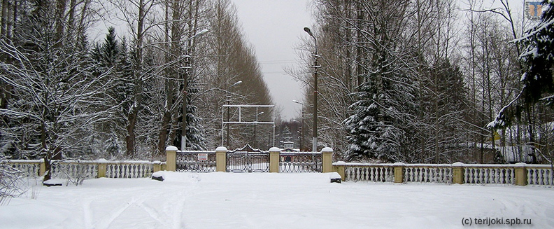 Главные ворота пионерлагеря «Восток-6» со стороны ул. Уютной, январь 2009 г.