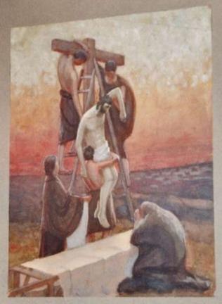 Кирха Терийоки. Первоначальная алтарная картина, 1914 г., художник Илмари Лаунис (Ilmari Launis)