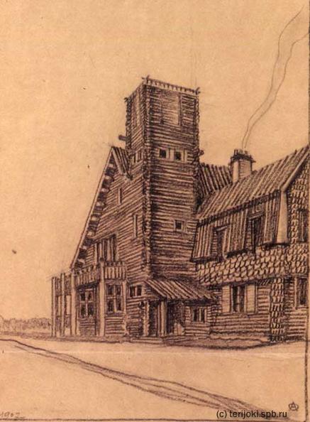 Дача Леонида Андреева в Ваммельсуу, рисунок А.А.Оля 1907 года