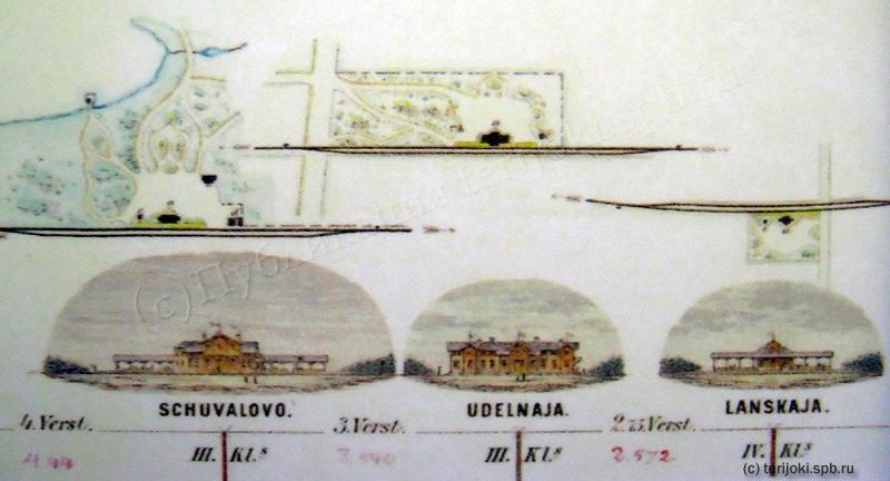 Первые проекты станций Шувалово, Удельная, Ланская