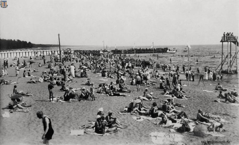 «Солнцепоклонники» на песке Терийоки