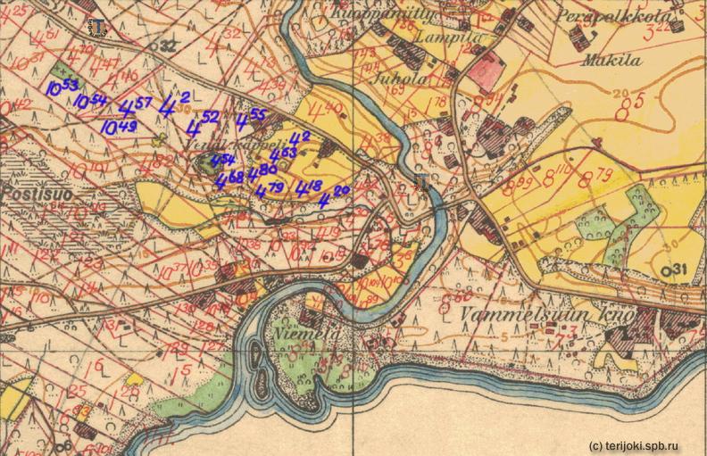 Фрагмент финской топографической карты 1930-х гг. с показанными кадастровыми участками, синим цветом отмечены участки Е. Э. Картавцова