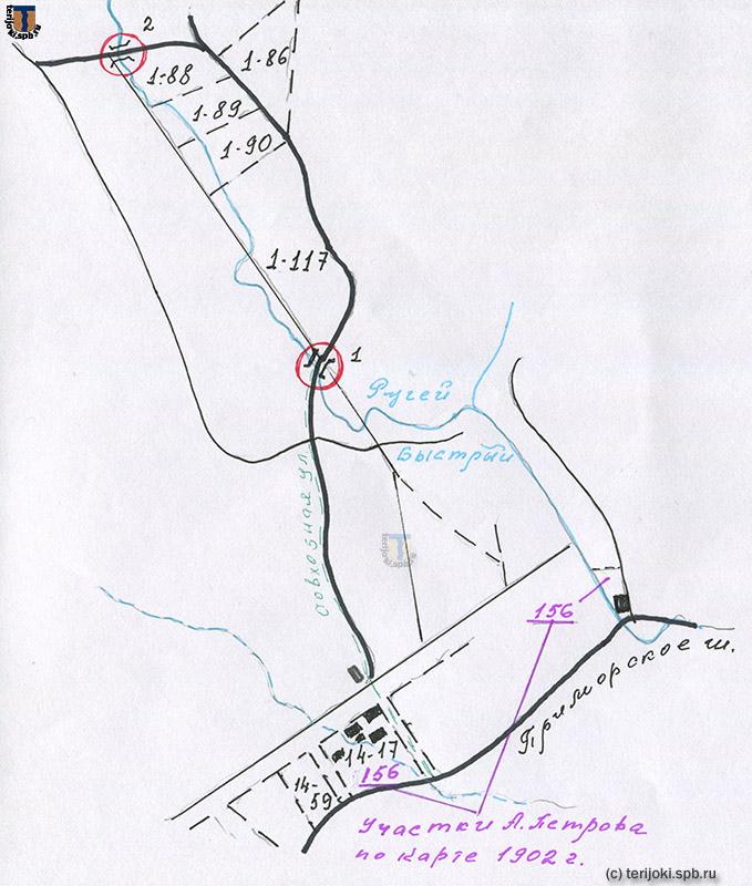 Схема расположения участков А. П. Петрова в Кякёсенпяя. Схему подготовила Е. В. Смирнова
