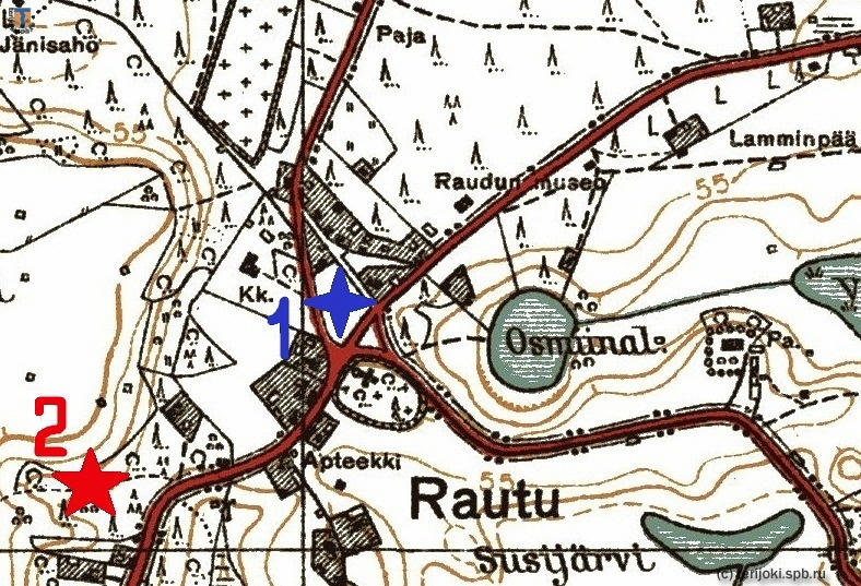 Расположение памятника в честь сражения 1656 г. (1) и воинского захоронения 1939-40 гг. (2) на довоенной финской карте Рауту
