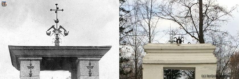 Металлический шпиль в виде герба Карелии, венчавший монумент в честь сражения 1656 г. и его фрагменты, сохранившиеся на современном памятнике. Слева снимок 1930 гг. с сайта rautu.fi, справа фото В. Патрунова, 16.10.2016 г.