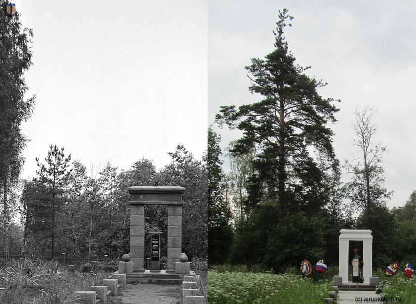 Сосна, стоящая возле памятника. Слева фрагмент снимка с сайта sa-kuva.fi,  13.09.1941 г., справа фото В.Патрунова, 25.06.2016 г.