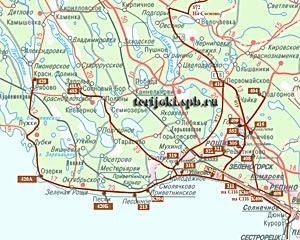 Карта-схема автобусных маршрутов от Зеленогорска.
